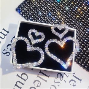 BOGO - double heart sparkle earrings